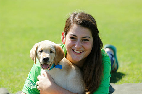 UM student Samantha Beverly, an education major and resident assistant, will be one of Trenton's primary handlers.