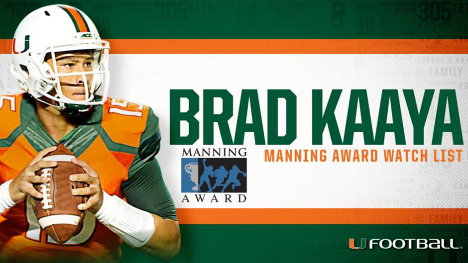 Kaaya Selected to Manning Award Watch List