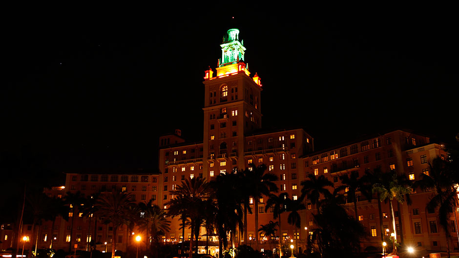 The Biltmore Hotel with Green and Orange Lights