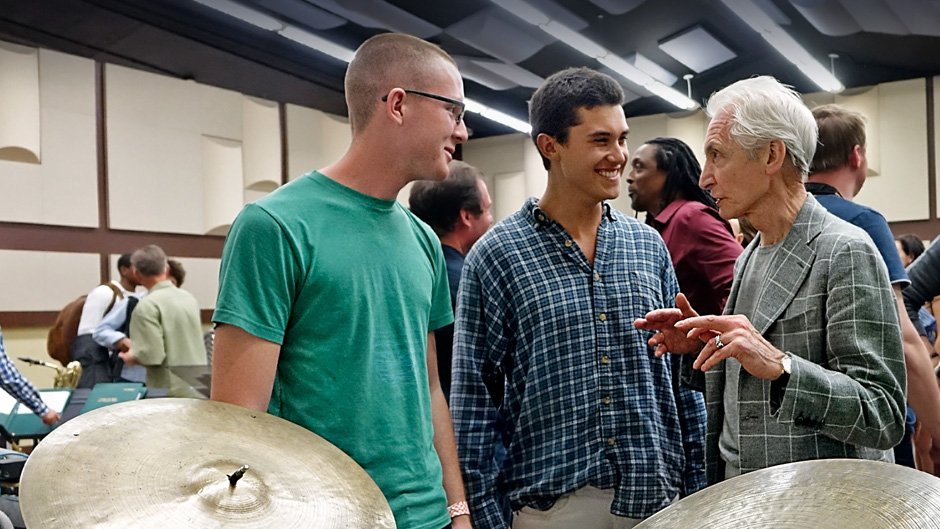Drummer Charlie Watts made a surprise visit to Monday's jazz session at the Frost School of Music.