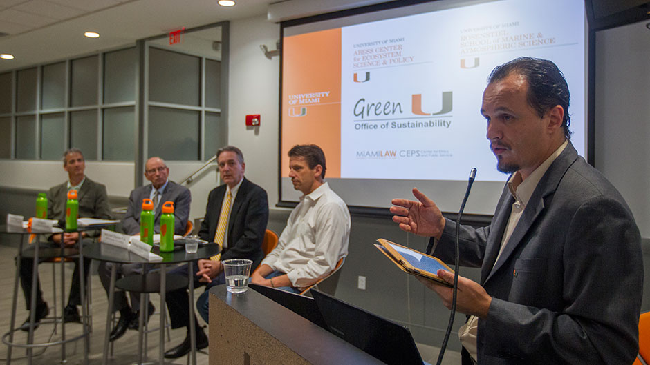 Teddy Lhoutellier, right, Green U's sustainability manager, moderated a panel