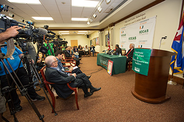 press conference at UM's Institute for Cuban and Cuban American Studies