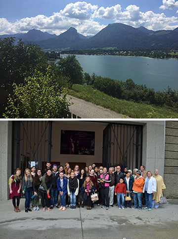 Students and donors, and view of the Salzkammergut