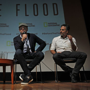 Leonardo DiCaprio was at UM with actor Mark Ruffalo and director Fisher Stevens for the screening of his documentary film on climate change, Before the Flood.