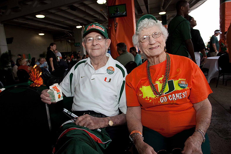 Commander Donald C. Pette, Sr. and wife Phyllis Pette at a Miami Hurricanes football tailgate.