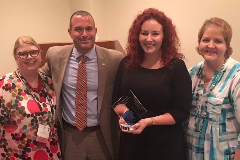 Jody Conway (NASPA Region III Summer Symposium Awards Co-Chair; University of Tampa); Anthony DeSantis (NASPA Region III Director; University of Florida); Heather Stevens; Lorie Kittendorf (NASPA Region III Summer Symposium Awards Co-Chair; University of Tampa)