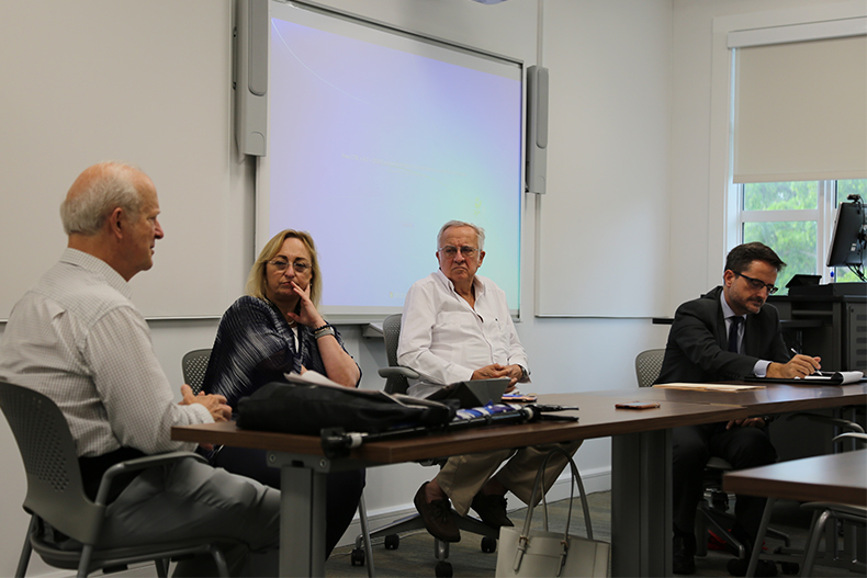 Panelists at a discussion about the Barcelona terrorist attack