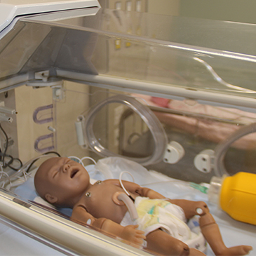 life-like baby at the Simulation Hospital