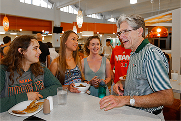 UM President Julio Frank visited with students