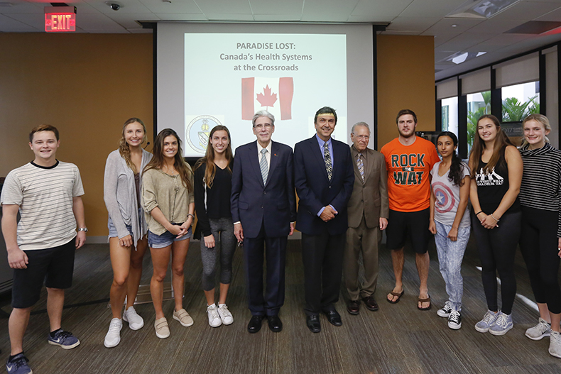 President Frenk with students