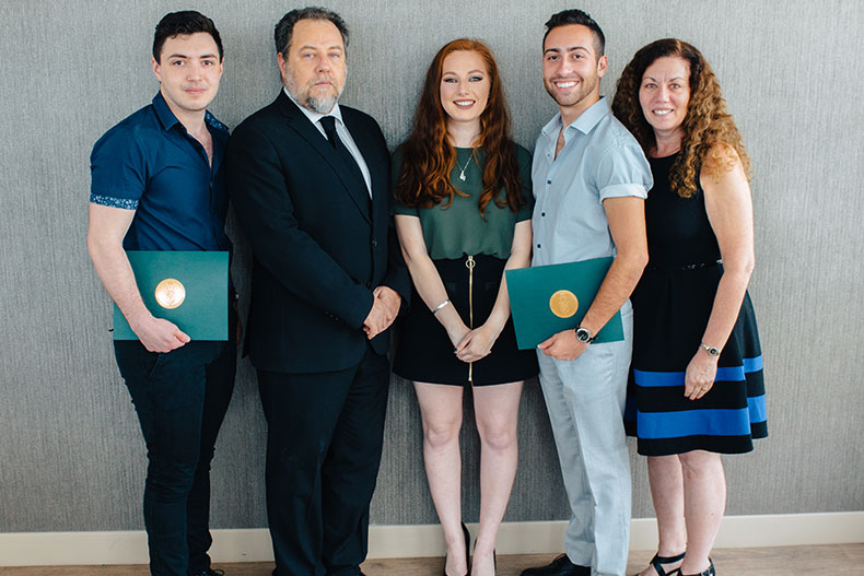 Bobby Eddy, a scholarship recipient, Dr. David Goldenberg, Dana Goldenberg, Branden Holzer, scholarship recipient and Dr. Renee Flax-Goldenberg.
