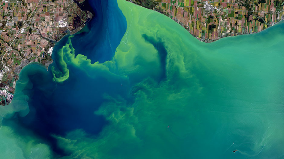Aerial shot of water