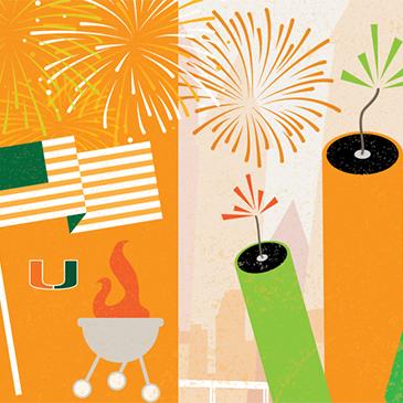 University of Miami Fireworks Illustration