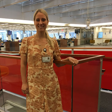 UM alumna Chelsea Matiash in the New York Times newsroom