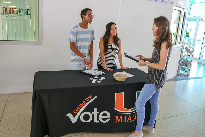 Members of Get Out The Vote register students in the University Center Breezeway