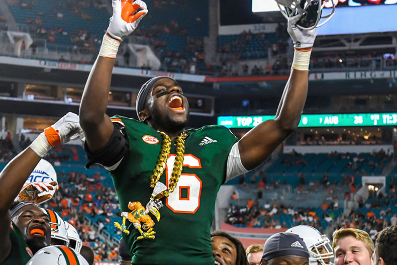 Turnover chain celebration on the sidelines