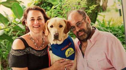 UPup's founding father, Trenton, has brought his deaf companion, Leslie Berg, and her husband great comfort and joy.
