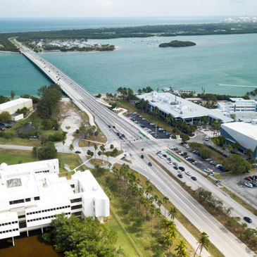 Aerial view from Virginia Key to Key Biscayne