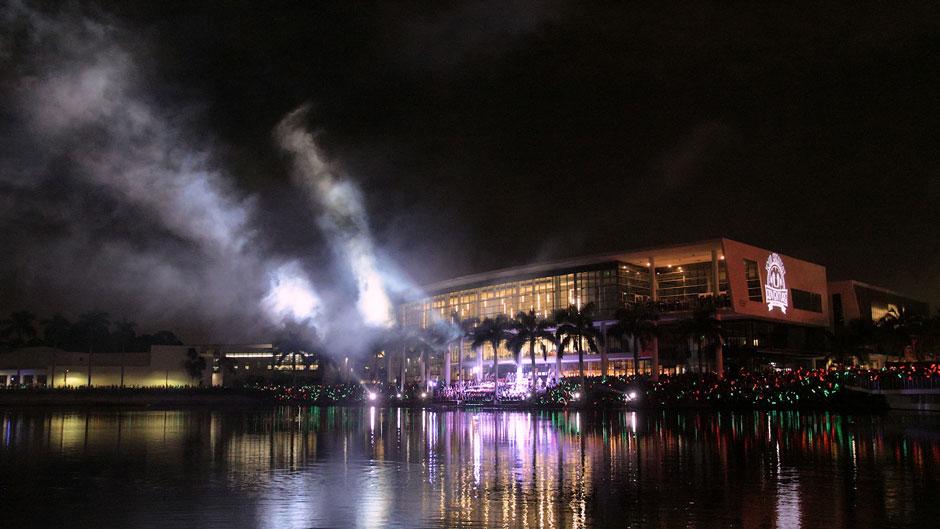 Shalala Student Center during Homecoming fireworks celebration