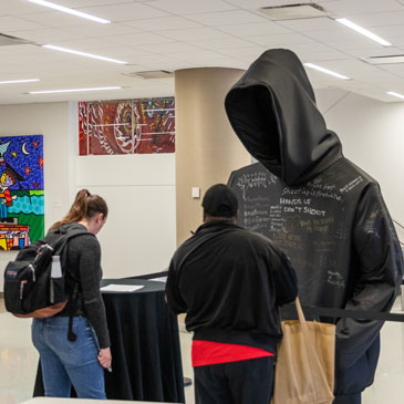 Hoodie installation in the UC Lower Lounge