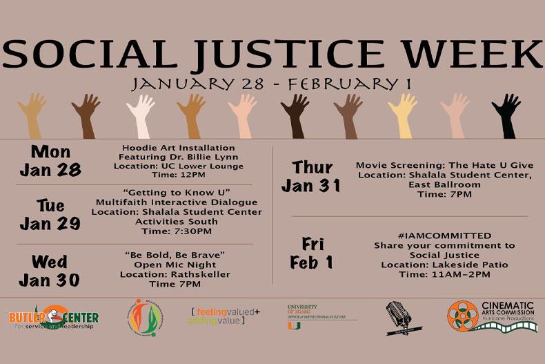 Social Justice Week calendar
