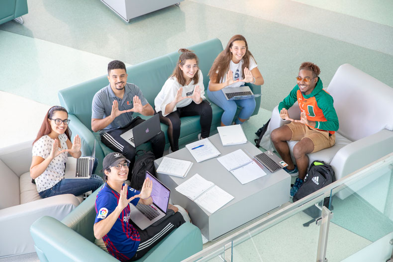 Students studying in the Shalala Student Center