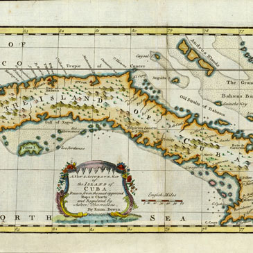 Map of the island of Cuba