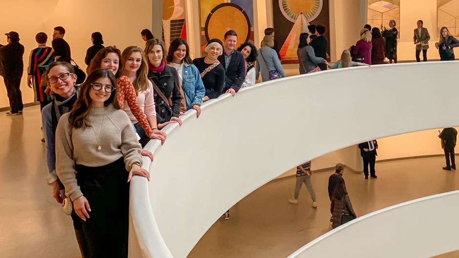 Lowe Director Jill Deupi with ArtLab students at the Guggenheim
