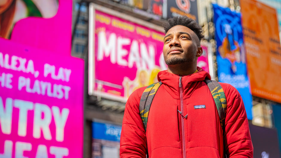 UM Theatre Arts senior Jordan Kiser in Times Square