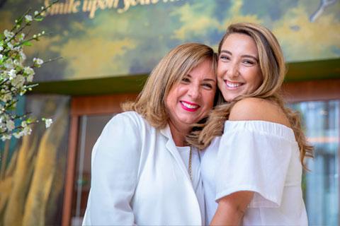 Alina and Kristina Hudak at the Newman Alumni Center
