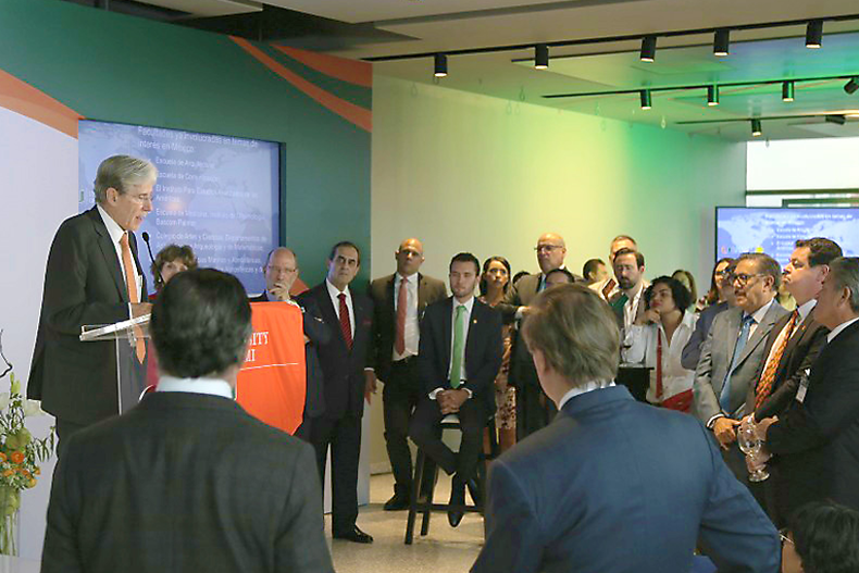 President Julio Frenk addresses guests at the opening of the University of Miami's Mexico City office.