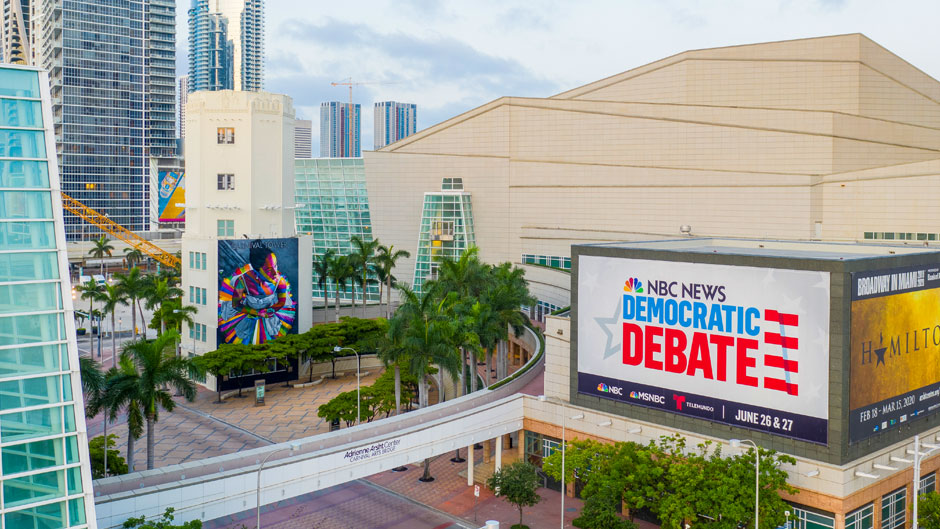 Adrienne Arsht Center for the Performing Arts with NBC News Democratic Debate signage