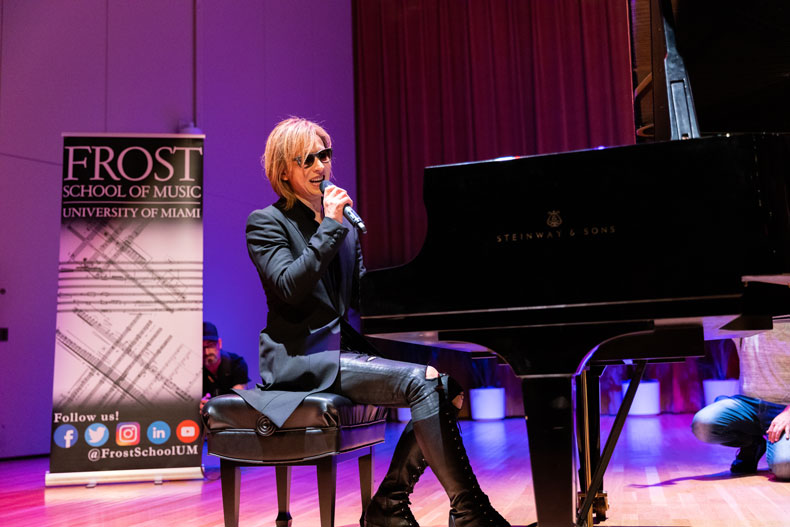 Japanese composer, pianist, and rock drummer Yoshiki conducted a masterclass at the Frost School of Music.