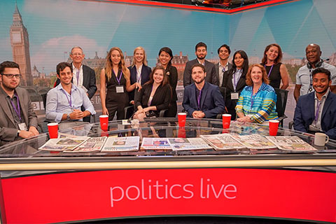Communication students on the BBC set of Politics Live!