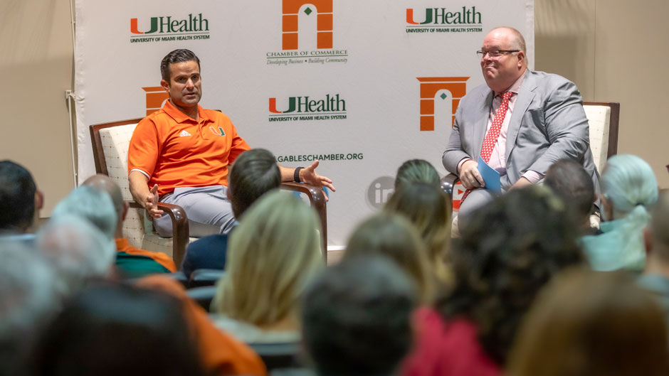 UM Hurricanes Football head coach Manny Diaz sat down with Mark Trowbridge, president and CEO of the Coral Gables Chamber of Commerce, during a Trow Knows CEOs talk held at UM's Schwartz Center for Athletic Excellence.