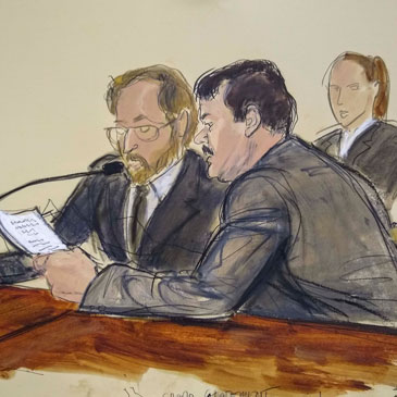 "In this courtroom sketch, Joaquin ""El Chapo"" Guzman, foreground right, reads a statement through an interpreter during his sentencing in federal court, Wednesday, July 17, 2019, in New York. The Mexican drug kingpin, who was convicted in February 2019 on multiple conspiracy counts in an epic drug-trafficking case, was sentenced to life behind bars in a U.S. prison Wednesday. (Elizabeth Williams via AP)"
