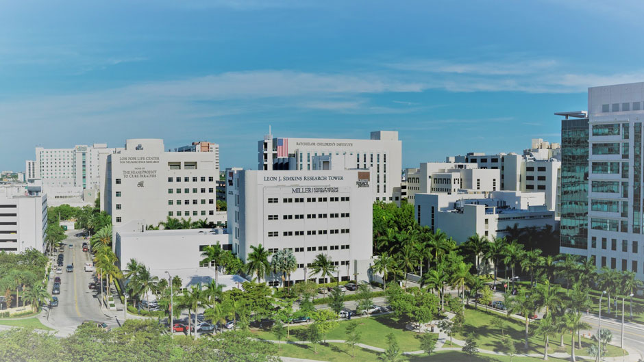 An aerial view of the Miller School of Medicine campus in Miami's health district.