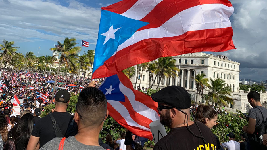 Puerto Ricans in the march held on July 17, 2019.  Photo courtesy of Maggie de la Cuesta