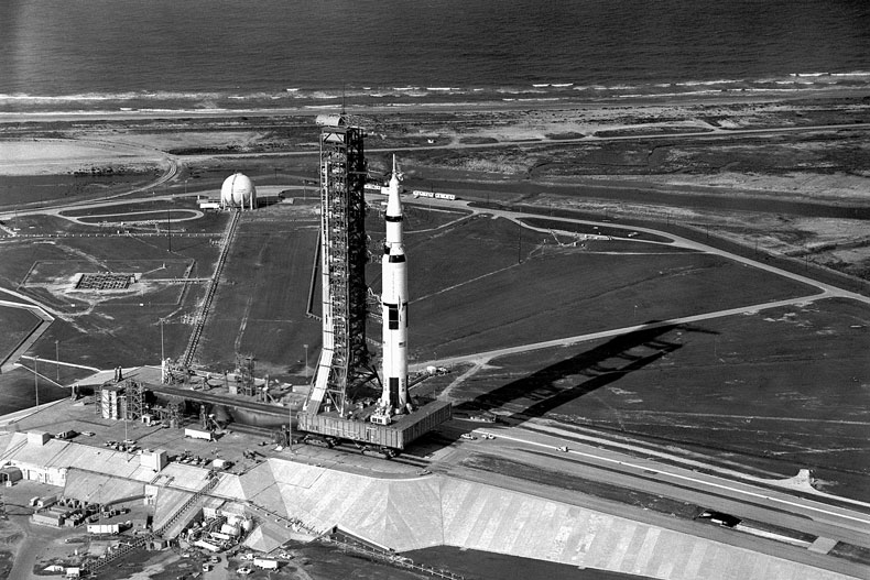The Saturn V rocket is rolled out to Launch Pad 39A for the Apollo 11 moon mission.