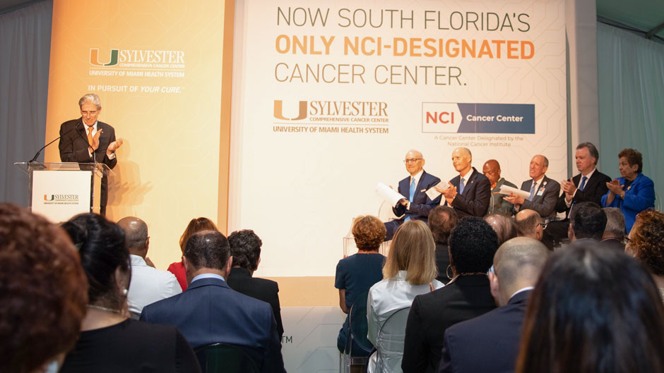 President Julio Frenk addresses the audience during the Sylvester Comprehensive Cancer Center NCI announcement.