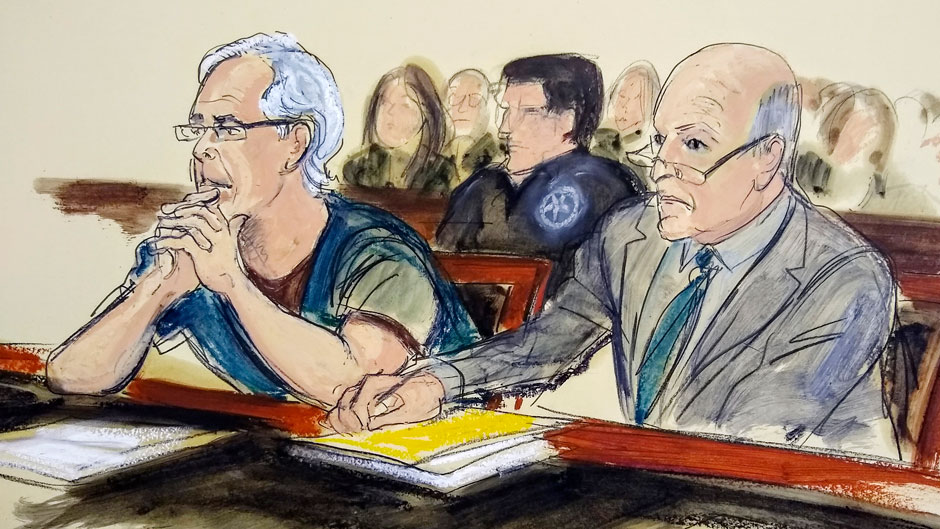 Jeffrey Epstein, left, and his attorney Martin Weinberg listen during a July bail hearing in federal court. Photo: Elizabeth Williams/Associated Press