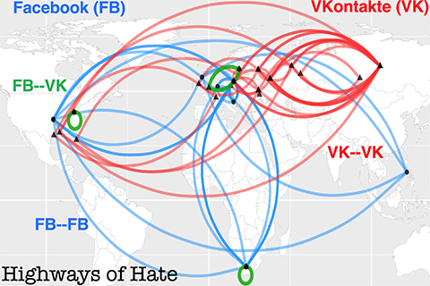 Facebook and VKontakte map