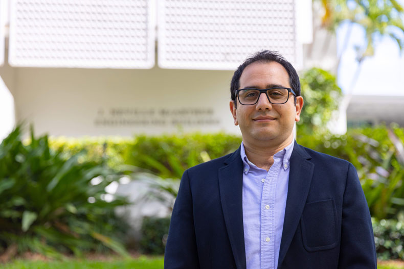 Ramin Moghaddass, an assistant professor of industrial engineering, in UM's College of Engineering, is developing mathematical and computational models to predict and prevent catastrophic failures.
