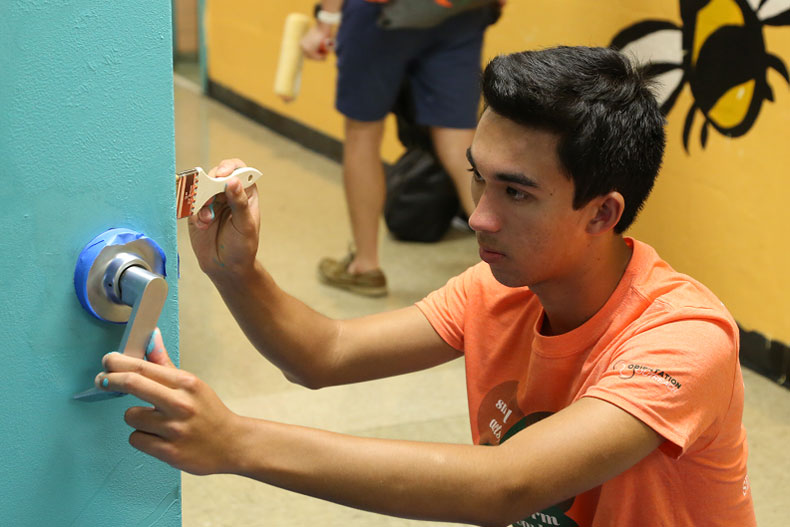 Nearly 100 UM students participated in Orientation Outreach on Sunday to assist the staff at Phillis Wheatley Elementary School prepare for the upcoming year