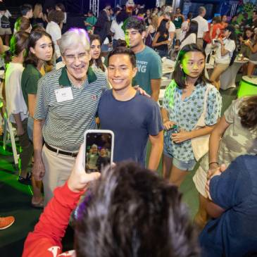 President Julio Frenk hosted a welcome celebration for new students at the Watsco Center.