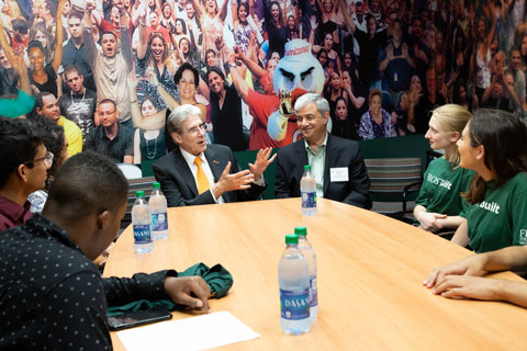 Julio Frenk and William Scott Green meet with the newest Stamps Scholars.