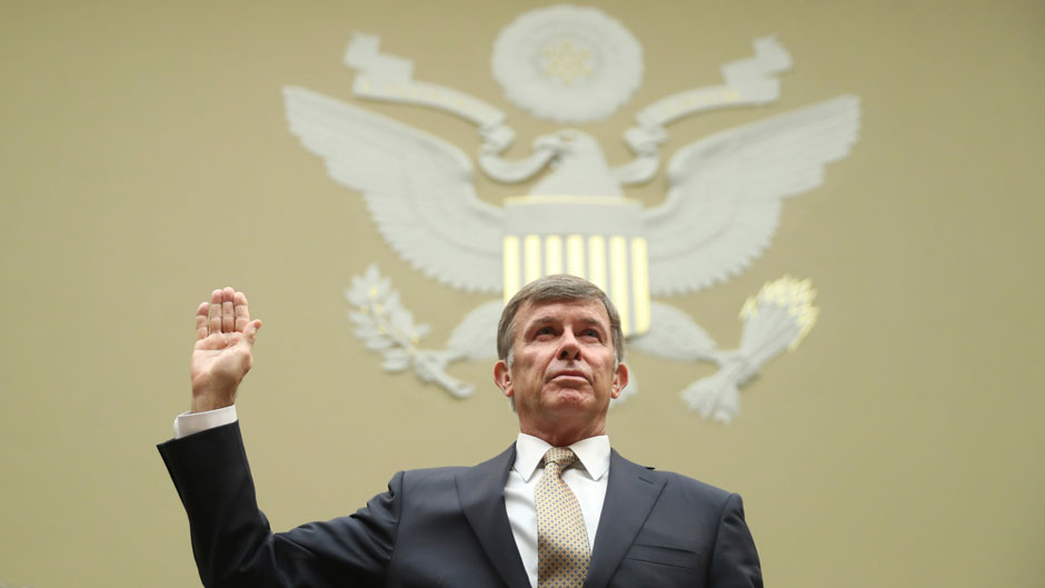 Joseph Maguire, acting director of National Intelligence, is sworn in before testifying before the House Intelligence Committee on Sept. 26. Photo: Associated Press