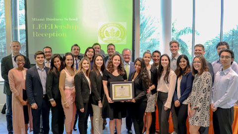 The students are part of the school's first cohort enrolled in the new sustainable business master's degree program. Photo: Robert Wagenseil for University of Miami