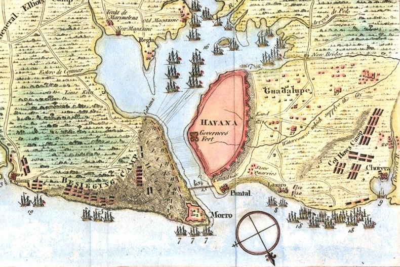A map of the siege of Havana, courtesy Cuban Heritage Collection