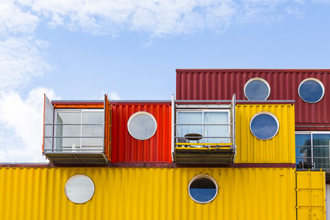 Shipping container repurposed as apartment-style housing.